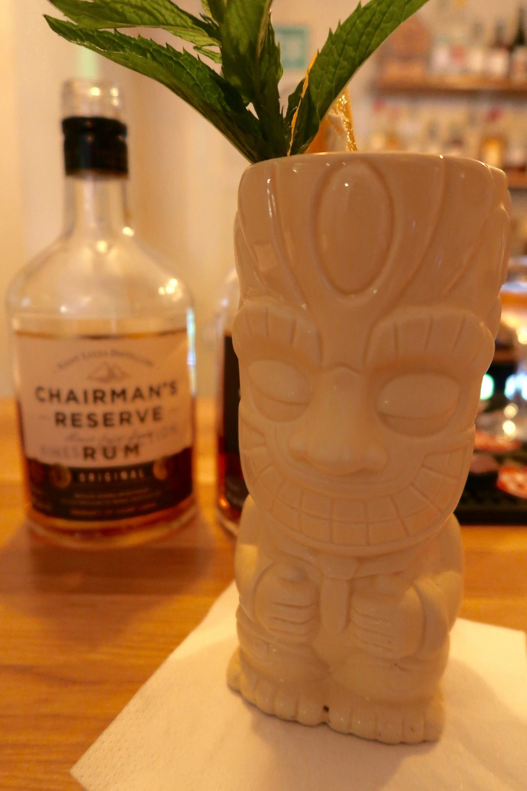 Mai Tai in a Tiki cup at Marigot Bay bar and cafe in Altrincham