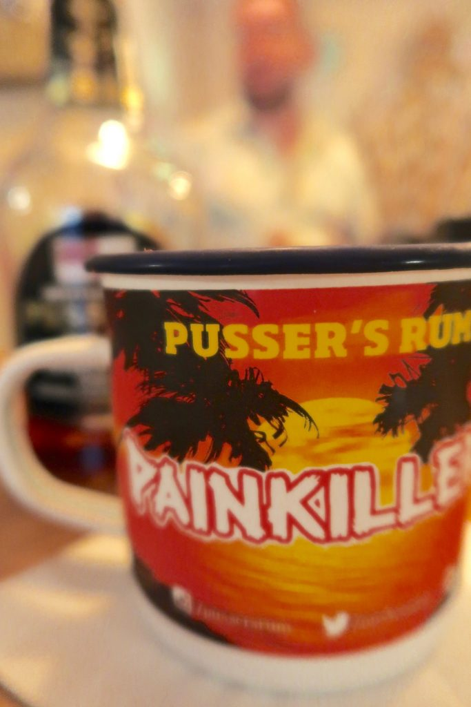 Painkiller in a traditional painkiller rum mug at Marigot Bay bar and cafe in Altrincham