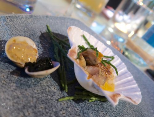 clam, brown crab, samphire mayonnaise at albatross and arnold